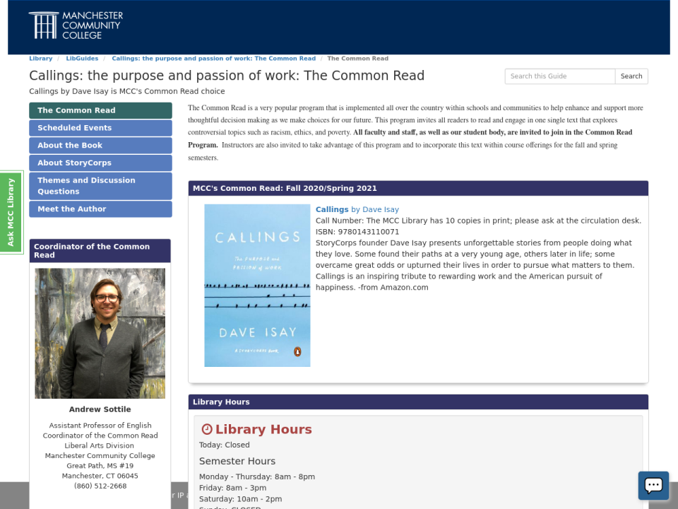 Screenshot of the Common Read LibGuide for 2020-21