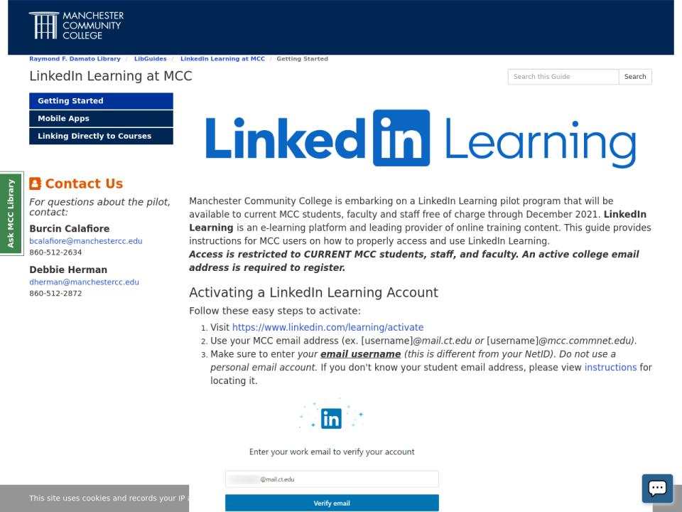 Screenshot of LinkedIn Learning LibGuide