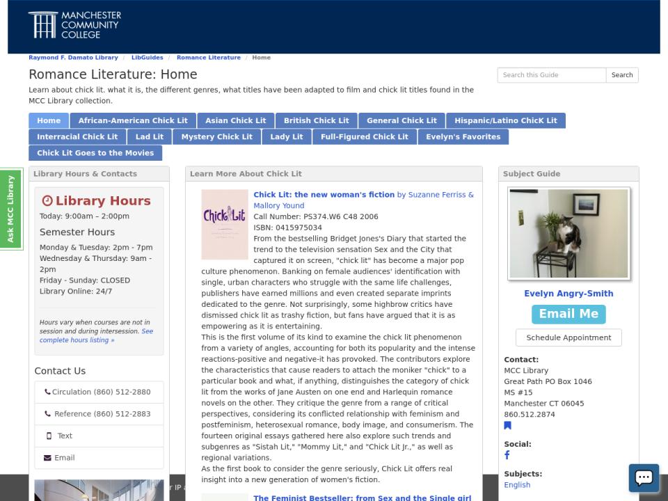 Screenshot of Romance Literature LibGuide