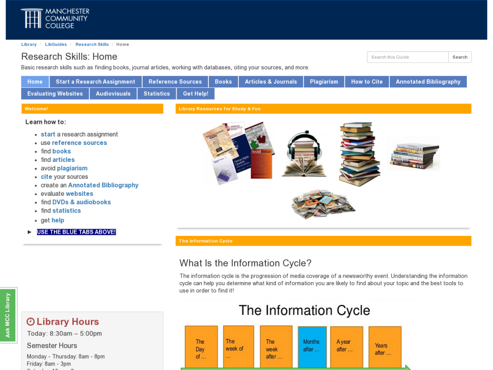 Research Skills LibGuide Homepage